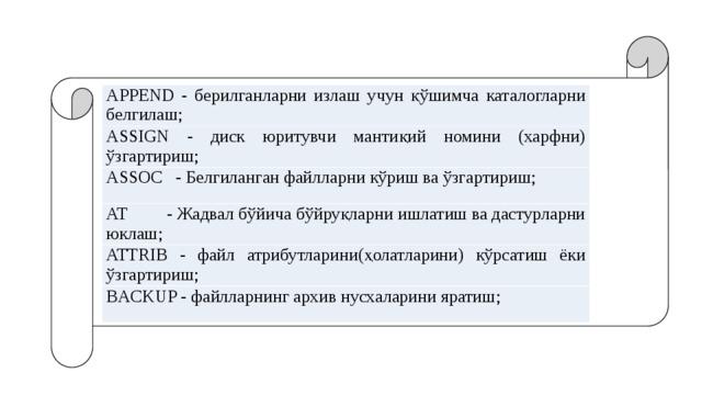APPЕND - берилганларни излаш учун қўшимча каталогларни белгилаш; ASSIGN - диск юритувчи мантиқий номини (харфни) ўзгартириш; ASSOC - Белгиланган файлларни кўриш ва ўзгартириш; AT - Жадвал бўйича бўйруқларни ишлатиш ва дастурларни юклаш; ATTRIB - файл атрибутларини(ҳолатларини) кўрсатиш ёки ўзгартириш; BACKUP - файлларнинг архив нусхаларини яратиш;