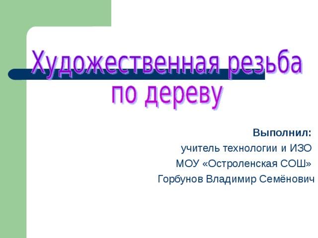 Выполнил:  учитель технологии и ИЗО МОУ «Остроленская СОШ» Горбунов Владимир Семёнович