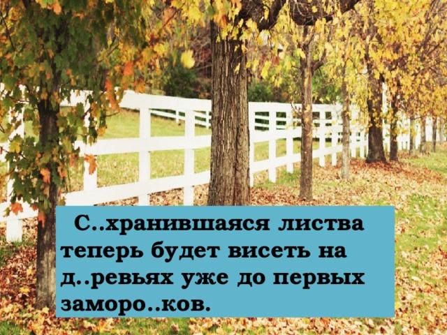 С..хранившаяся листва теперь будет висеть на д..ревьях уже до первых заморо..ков.