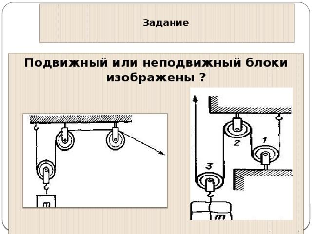 Рычаг неПодвижный блок Подвижный блок S 1 F 2 S 2 F 1 F 2 F 2 S 1 S 1 S 2 F 1 S 2 F 1 = = = 2h P P h F h F  h F 1 ∙ S 1 = F 2 ∙ S 2 = = A = F ∙ S P ∙ h = F ∙ 2h P ∙ h = F ∙ h A = F ∙ S A 1 = A 2 A 1 = A 2 A 1 = A 2 Не даёт выигрыш в работе. Не даёт выигрыш в работе. Получая выигрыш в силе, проигрывают в пути Пути одинаковы, силы одинаковы Не даёт выигрыш в работе. Получая выигрыш в силе в 2 раза, проигрывают в 2 раза в пути