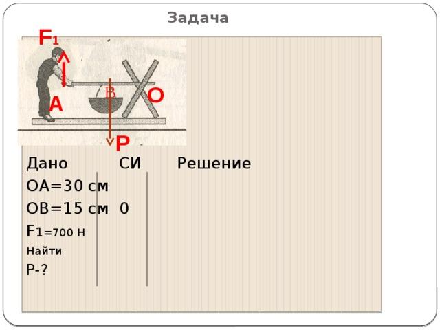 B Задача F 1 Дано СИ Решение ОА=30 см ОВ=15 см 0 F 1 =700 Н Найти P-? О А  Р