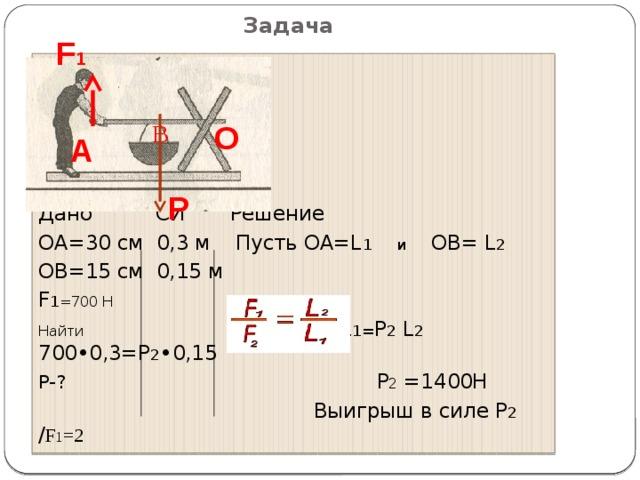 B Задача F 1 Дано СИ Решение ОА=30 см 0,3 м Пусть ОА=L 1 и ОВ= L 2 ОВ=15 см 0,15 м F 1 =700 Н Найти F 1 L 1= P 2 L 2 700•0,3=P 2 •0,15 P-? P 2 =1400Н  Выигрыш в силе Р 2 / F 1 =2 О А  Р
