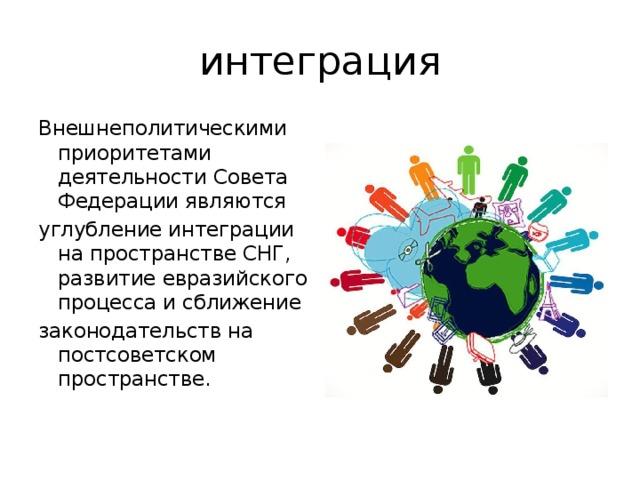 интеграция Внешнеполитическими приоритетами деятельности Совета Федерации являются углубление интеграции на пространстве СНГ, развитие евразийского процесса и сближение законодательств на постсоветском пространстве.
