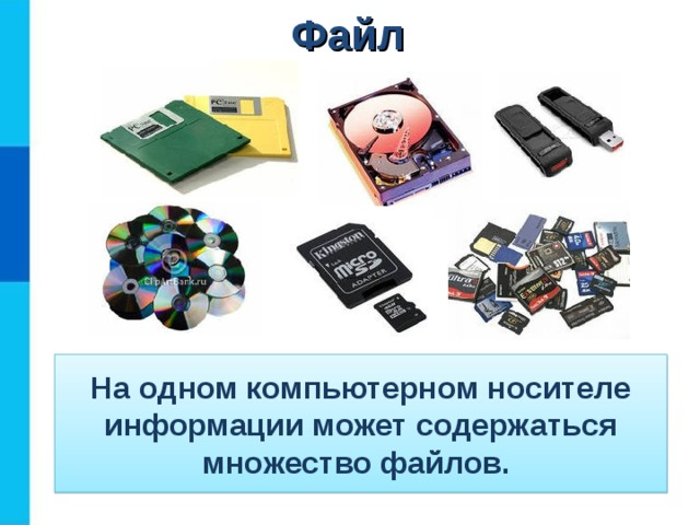Файл На одном компьютерном носителе информации может содержаться множество файлов.