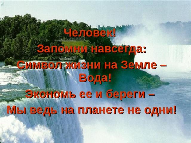 Человек! Запомни навсегда: Символ жизни на Земле – Вода! Экономь ее и береги – Мы ведь на планете не одни!