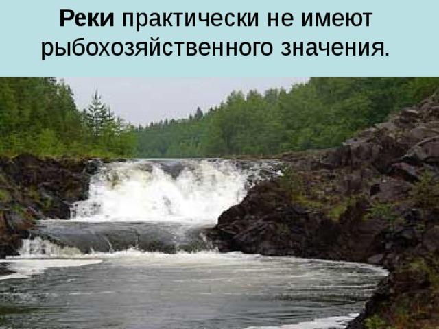 Реки практически не имеют рыбохозяйственного значения.