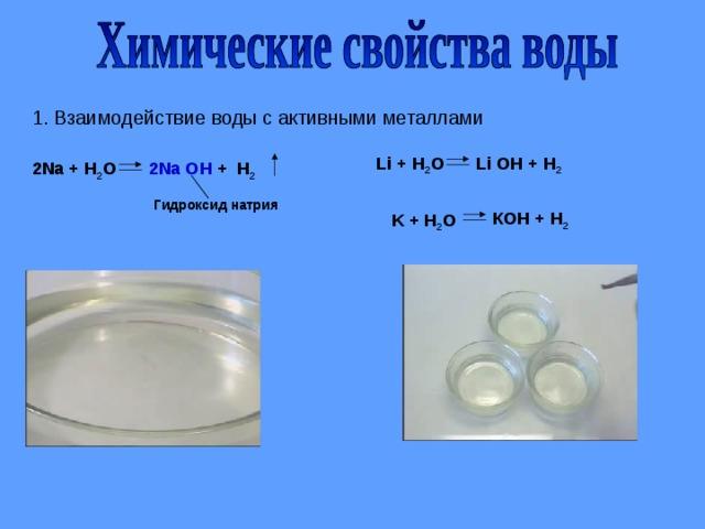 1. Взаимодействие воды с активными металлами Li + H 2 O Li OH + H 2 2Na OH + H 2 2Na + H 2 O Гидроксид натрия КОН + Н 2 K + H 2 O
