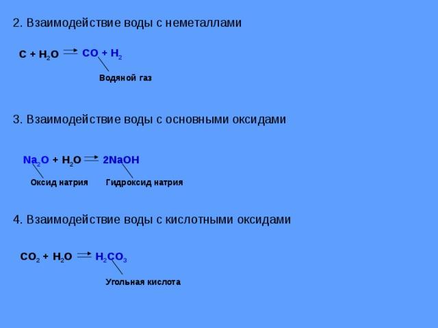 2. Взаимодействие воды с неметаллами CO + H 2 С + H 2 O Водяной  газ 3. Взаимодействие воды с основными оксидами Na 2 O + H 2 O 2NaOH Гидроксид натрия Оксид натрия 4 . Взаимодействие воды с кислотными оксидами H 2 CO 3 CO 2 +   H 2 O Угольная кислота