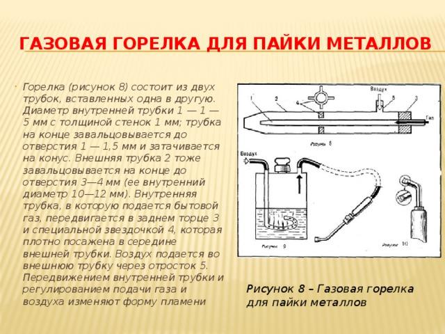 ГАЗОВАЯ ГОРЕЛКА ДЛЯ ПАЙКИ МЕТАЛЛОВ Горелка (рисунок 8) состоит из двух трубок, вставленных одна в другую. Диаметр внутренней трубки 1 — 1 — 5 мм с толщиной стенок 1 мм; трубка на конце завальцовывается до отверстия 1 — 1,5 мм и затачивается на конус. Внешняя трубка 2 тоже завальцовывается на конце до отверстия 3—4 мм (ее внутренний диаметр 10—12 мм). Внутренняя трубка, в которую подается бытовой газ, передвигается в заднем торце 3 и специальной звездочкой 4, которая плотно посажена в середине внешней трубки. Воздух подается во внешнюю трубку через отросток 5. Передвижением внутренней трубки и регулированием подачи газа и воздуха изменяют форму пламени Рисунок 8 – Газовая горелка для пайки металлов