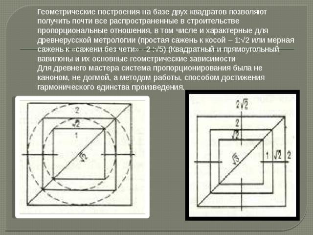 Геометрические построения на базе двух квадратов позволяют получить почти все распространенные в строительстве  пропорциональные отношения, в том числе и характерные для древнерусской метрологии (простая сажень к косой – 1:√2 или мерная сажень к «сажени без чети» - 2 :√5) (Квадратный и прямоугольный вавилоны и их основные геометрические зависимости  Для древнего мастера система пропорционирования была не каноном, не догмой, а методом работы, способом достижения гармонического единства произведения.