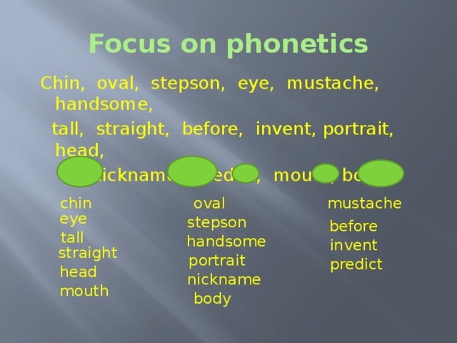Focus on phonetics  Chin, oval, stepson, eye, mustache, handsome,  tall, straight, before, invent, portrait, head,  nickname, predict, mouth, body. mustache oval chin eye stepson before Focus on phonetics.  As usual we begin our lesson with practice your phonetic. Look at the screen. Listen and divide the words into following columns according to their intonation pattern.  Chin, oval, stepson, eye, mustache, handsome, tall, straight, before, invent, portrait, head, nickname, predict, mouth, body. First of all choose and read monosyllabic words. Now find and read the words with two syllables, in which the first syllable is stressed. Now find and read the words with two syllables, in which the second syllable is stressed.   tall handsome invent straight portrait predict head nickname mouth body