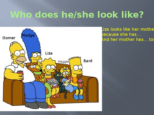 Who does he/she look like? Liza looks like her mother because she has… And her mother has… too. Madge Gomer Liza Bard Maggie The Simpsons - Who does he look like? – Who do you look like? Итог урока.  - So, let's draw a conclusion. I think now you can describe people's appearance.