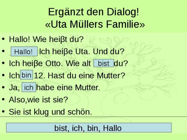 Ergänzt den Dialog!   « Uta Müllers Familie » Hallo!  Wie hei β t du ?  Ich hei β e Uta. Und du ? Ich hei β e Otto. Wie alt du ? Ich 12. Hast du eine Mutter ? Ja, habe eine Mutter. Also,wie ist sie ? Sie ist klug und schön.   Hallo!  bist bin ich bist, ich, bin, Hallo