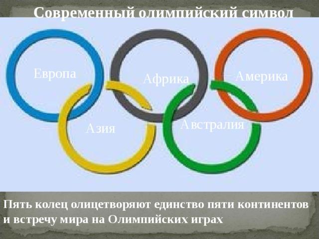 Современный олимпийский символ Европа Америка Африка  Австралия  Азия  Пять колец олицетворяют единство пяти континентов и встречу мира на Олимпийских играх