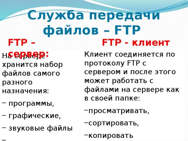 Служба передачи файлов – FTP FTP - клиент FTP – сервер: Клиент соединяется по протоколу FTP c сервером и после этого может работать с файлами на сервере как в своей папке: просматривать, сортировать, копировать На сервере хранится набор файлов самого разного назначения: