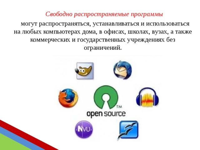 Свободно  распространяемые программы могут распространяться, устанавливаться и использоваться на любых компьютерах дома, в офисах, школах, вузах, а также коммерческих и государственных учреждениях без ограничений.