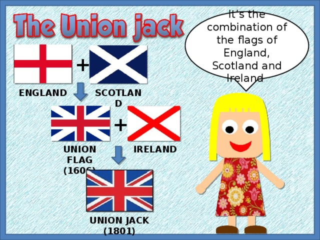 It's the combination of the flags of England, Scotland and Ireland + ENGLAND SCOTLAND + UNION FLAG (1606) IRELAND UNION JACK (1801)