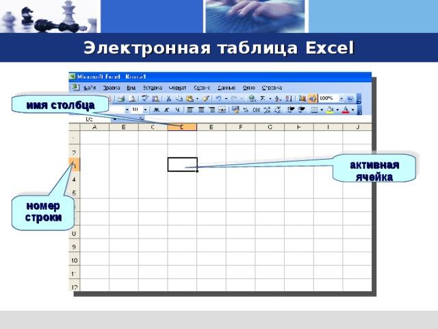 Электронная таблица Excel имя столбца имя столбца имя столбца имя столбца активная ячейка активная ячейка активная ячейка номер строки номер строки номер строки