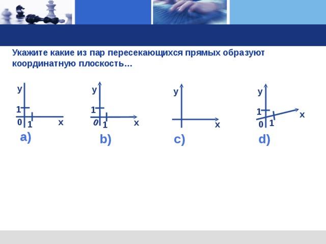 0 у 1 х 1  Укажите какие из пар пересекающихся прямых образуют координатную плоскость…  у у у 1 1 х х 0 1 1 х  0 а) c ) b ) d )