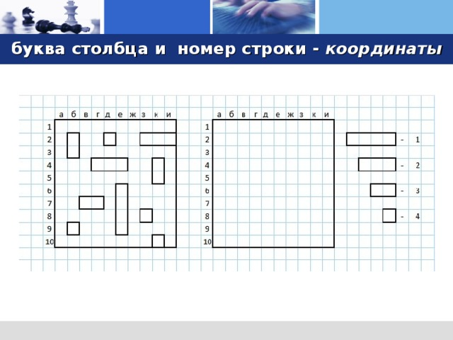 буква столбца  и  номер строки - координаты