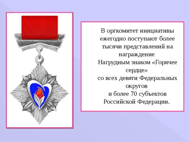 В оргкомитет инициативы ежегодно поступают более тысячи представлений на награждение  Нагрудным знаком «Горячее сердце»  со всех девяти Федеральных округов  и более 70 субъектов Российской Федерации.