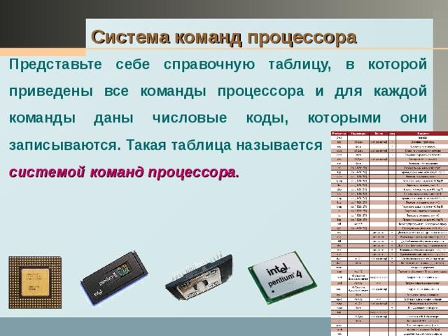 Система команд процессора  Представьте себе справочную таблицу, в которой приведены все команды процессора и для каждой команды даны числовые коды, которыми они записываются. Такая таблица называется  системой команд процессора.
