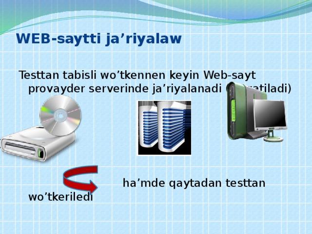 WEB-saytti ja'riyalaw   Testtan tabisli wo'tkennen keyin Web-sayt provayder serverinde ja'riyalanadi (tarqatiladi)  ha'mde qaytadan testtan wo'tkeriledi