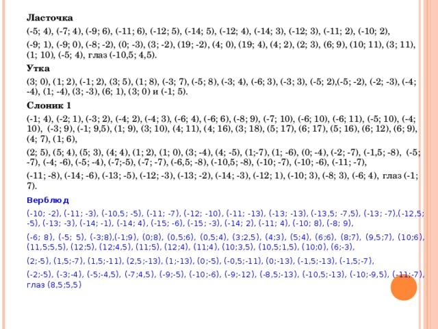Ласточка (-5; 4), (-7; 4), (-9; 6), (-11; 6), (-12; 5), (-14; 5), (-12; 4), (-14; 3), (-12; 3), (-11; 2), (-10; 2), (-9; 1), (-9; 0), (-8; -2), (0; -3), (3; -2), (19; -2), (4; 0), (19; 4), (4; 2), (2; 3), (6; 9), (10; 11), (3; 11), (1; 10), (-5; 4), глаз (-10,5; 4,5). Утка (3; 0), (1; 2), (-1; 2), (3; 5), (1; 8), (-3; 7), (-5; 8), (-3; 4), (-6; 3), (-3; 3), (-5; 2),(-5; -2), (-2; -3), (-4; -4), (1; -4), (3; -3), (6; 1), (3; 0) и (-1; 5). Слоник 1 (-1; 4), (-2; 1), (-3; 2), (-4; 2), (-4; 3), (-6; 4), (-6; 6), (-8; 9), (-7; 10), (-6; 10), (-6; 11), (-5; 10), (-4; 10), (-3; 9), (-1; 9,5), (1; 9), (3; 10), (4; 11), (4; 16), (3; 18), (5; 17), (6; 17), (5; 16), (6; 12), (6; 9), (4; 7), (1; 6), (2; 5), (5; 4), (5; 3), (4; 4), (1; 2), (1; 0), (3; -4), (4; -5), (1;-7), (1; -6), (0; -4), (-2; -7), (-1,5; -8), (-5; -7), (-4; -6), (-5; -4), (-7;-5), (-7; -7), (-6,5; -8), (-10,5; -8), (-10; -7), (-10; -6), (-11; -7), (-11; -8), (-14; -6), (-13; -5), (-12; -3), (-13; -2), (-14; -3), (-12; 1), (-10; 3), (-8; 3), (-6; 4), глаз (-1; 7). Верблюд (-10; -2), (-11; -3), (-10,5; -5), (-11; -7), (-12; -10), (-11; -13), (-13; -13), (-13,5; -7,5), (-13; -7),(-12,5; -5), (-13; -3), (-14; -1), (-14; 4), (-15; -6), (-15; -3), (-14; 2), (-11; 4), (-10; 8), (-8; 9), (-6; 8), (-5; 5), (-3;8),(-1;9), (0;8), (0,5;6), (0,5;4), (3;2,5), (4;3), (5;4), (6;6), (8;7), (9,5;7), (10;6), (11,5;5,5), (12;5), (12;4,5), (11;5), (12;4), (11;4), (10;3,5), (10,5;1,5), (10;0), (6;-3), (2;-5), (1,5;-7), (1,5;-11), (2,5;-13), (1;-13), (0;-5), (-0,5;-11), (0;-13), (-1,5;-13), (-1,5;-7), (-2;-5), (-3;-4), (-5;-4,5), (-7;4,5), (-9;-5), (-10;-6), (-9;-12), (-8,5;-13), (-10,5;-13), (-10;-9,5), (-11;-7), глаз (8,5;5,5)