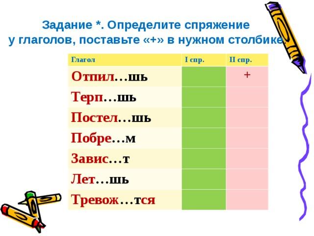 Задание *. Определите спряжение  у глаголов, поставьте «+» в нужном столбике .   Глагол I спр. Отпил …шь II спр.  Терп …шь + Постел …шь Побре …м Завис …т Лет …шь Тревож …т ся