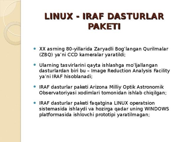 LINUX - IRAF DASTURLAR PAKETI