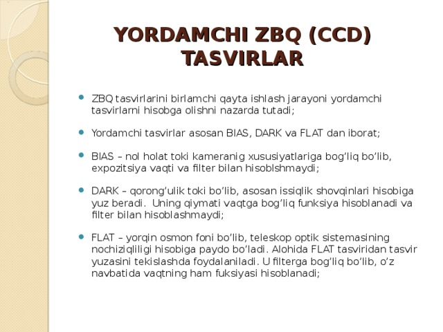YORDAMCHI ZBQ (CCD) TASVIRLAR