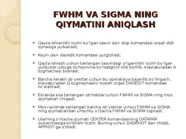 FWHM VA SIGMA NING QIYMATINI ANIQLASH
