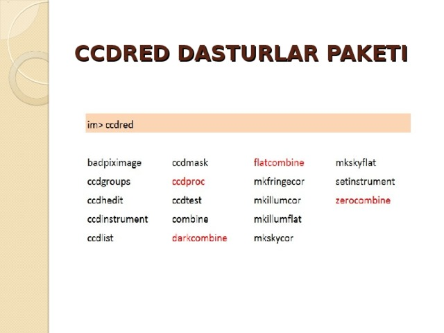 CCDRED DASTURLAR PAKETI