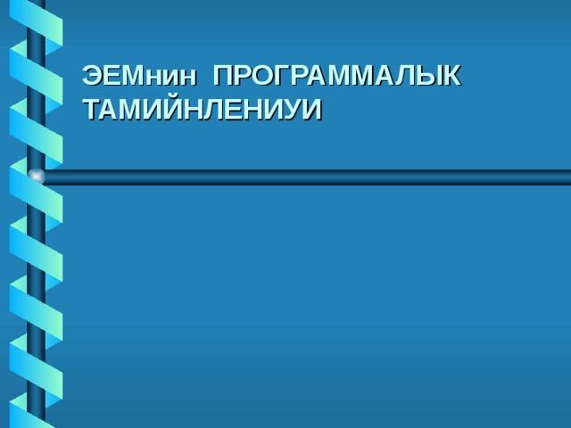 ЭЕМнин ПРОГРАММАЛЫК ТАМИЙНЛЕНИУИ