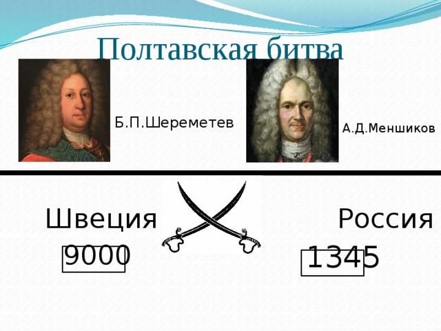 Полтавская битва Б.П.Шереметев А.Д.Меншиков Швеция Россия 9000 1345