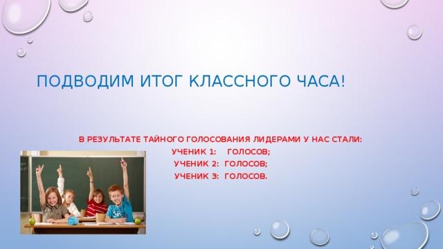 Подводим итог классного часа!    В результате тайного голосования лидерами у нас стали: Ученик 1: голосов; Ученик 2: голосов; Ученик 3: голосов.