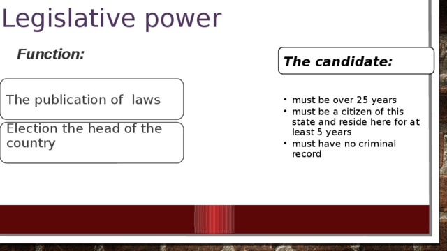 Legislative power Function:  The candidate: The publication of laws must be over 25 years must be a citizen of this state and reside here for at least 5 years must have no criminal record must be over 25 years must be a citizen of this state and reside here for at least 5 years must have no criminal record Election the head of the country