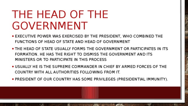 The Head of the Government