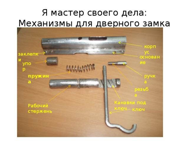 Я мастер своего дела:  Механизмы для дверного замка корпус заклепки основание упор пружина ручка резьба Канавки под ключ Рабочий стержень ключ