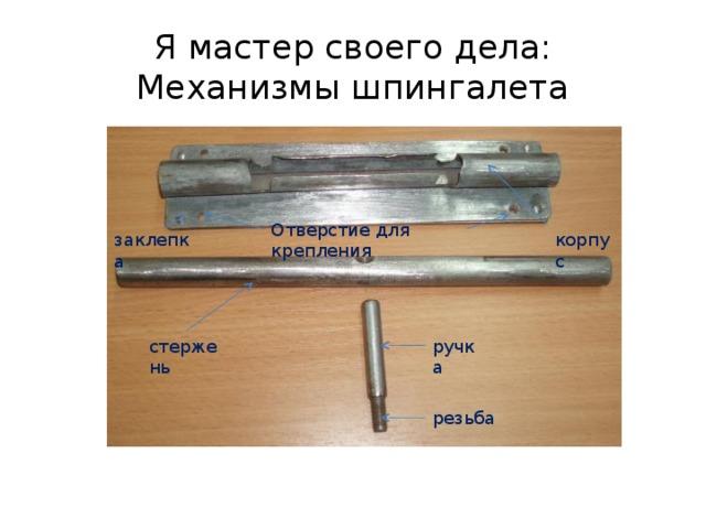 Я мастер своего дела:  Механизмы шпингалета Отверстие для крепления заклепка корпус ручка стержень резьба