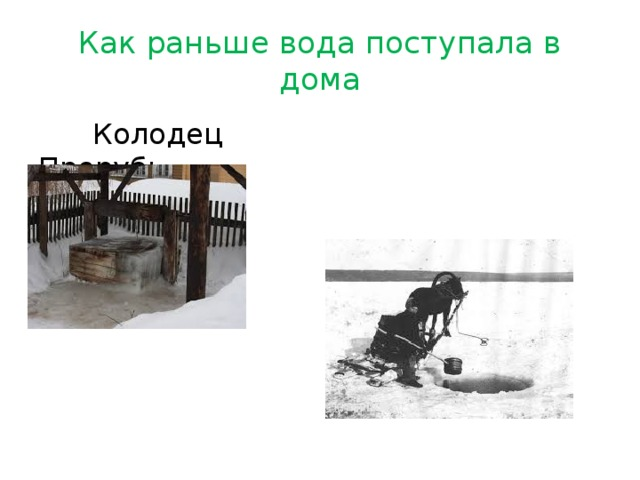 Как раньше вода поступала в дома  Колодец Прорубь