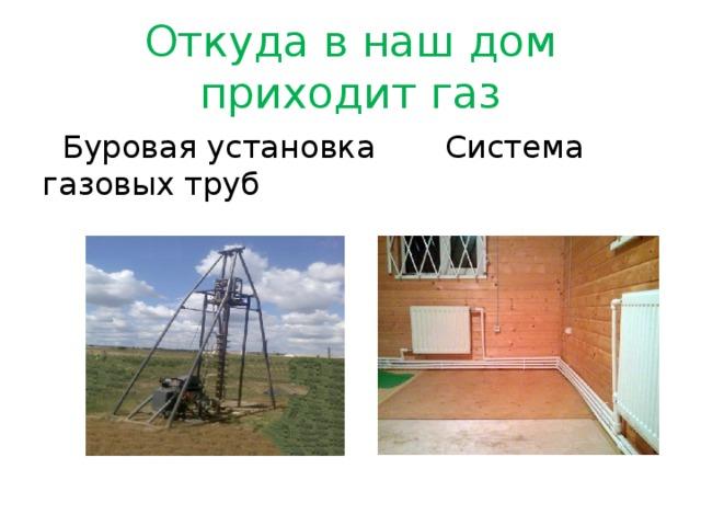 Откуда в наш дом приходит газ  Буровая установка Система газовых труб