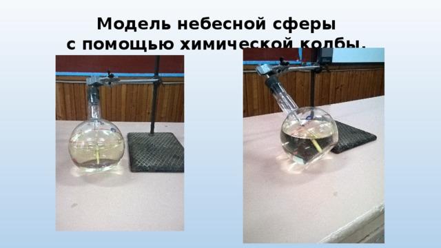 Модель небесной сферы  с помощью химической колбы.