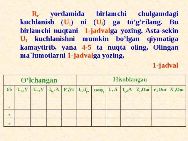R r yordamida birlamchi chulgamdagi kuchlanish ( U 1 ) ni ( U 2 ) ga to'g'rilang. Bu birlamchi nuqtani 1-jadval ga yozing. Asta-sekin U 1 kuchlanishni mumkin bo'lgan qiymatiga kamaytirib, yana 4-5 ta nuqta о ling. О lingan ma`lum о tlarni 1-jadval ga yozing. 1-jadval O' lchangan t / b 1 U 1c ,V 2 U 2c ,V 3 I 1c , A P c ,Vt Hisoblangan I 1 c /I y u c о s  c I c , A  I cp ,A  Z c ,Om r c ,Om X c ,Om