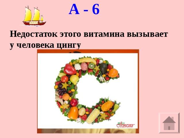 А - 6   Недостаток этого витамина вызывает у человека цингу