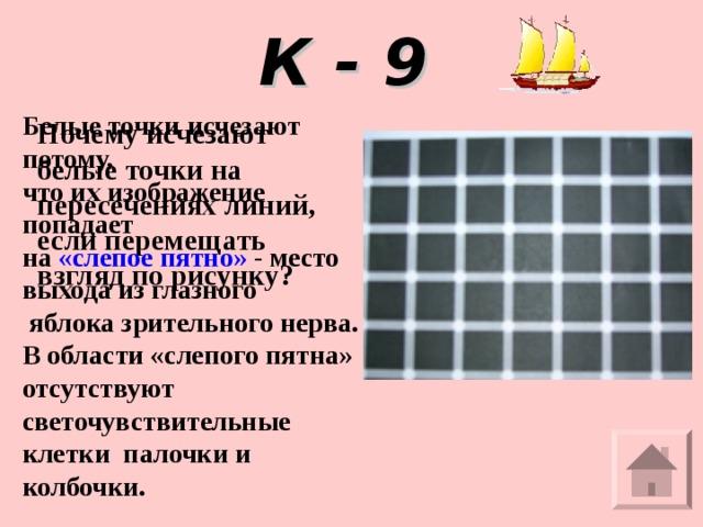 К - 9 Белые точки исчезают потому, что их изображение попадает на «слепое пятно» - место выхода из глазного  яблока зрительного нерва. В области «слепого пятна» отсутствуют светочувствительные клетки палочки и колбочки.   Почему исчезают белые точки на пересечениях линий, если перемещать взгляд по рисунку?
