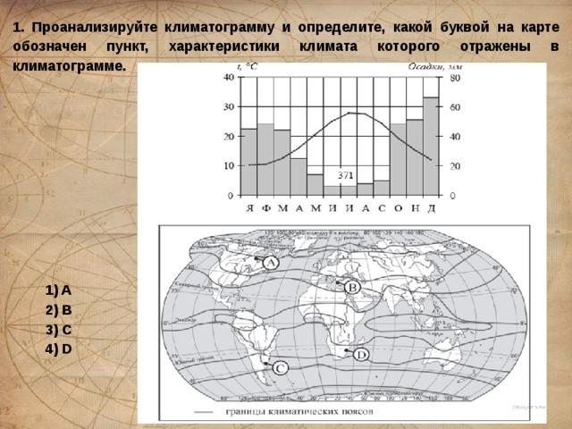 1. Проанализируйте климатограмму и определите, какой буквой на карте обозначен пункт, характеристики климата которого отражены в климатограмме. 1) A 2) B 3) C 4) D
