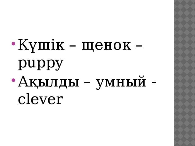 Күшік – щенок – puppy Ақылды – умный - clever