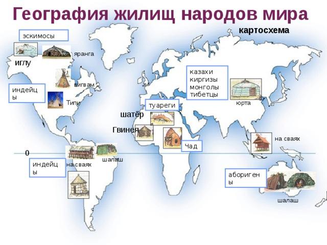География жилищ народов мира картосхема эскимосы яранга иглу казахи киргизы монголы тибетцы вигвам индейцы Типи юрта туареги шатёр Гвинея на сваях Чад 0 шалаш индейцы на сваях аборигены шалаш