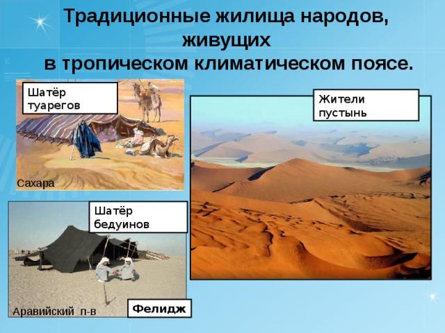 Традиционные жилища народов, живущих в тропическом климатическом поясе. Традиционные жилища народов, живущих в тропическом климатическом поясе. Шатёр туарегов Жители пустынь Сахара Шатёр бедуинов Фелидж Аравийский п-в